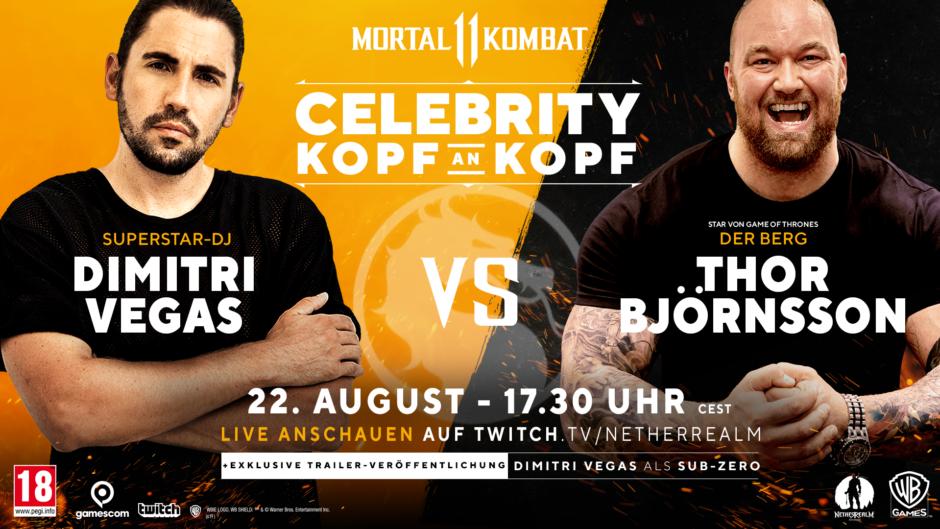 Mortal Kombat 11 – DJ Dimitri Vegas tritt bei der gamescom 2019 gegen Schauspieler aus Game of Thrones an