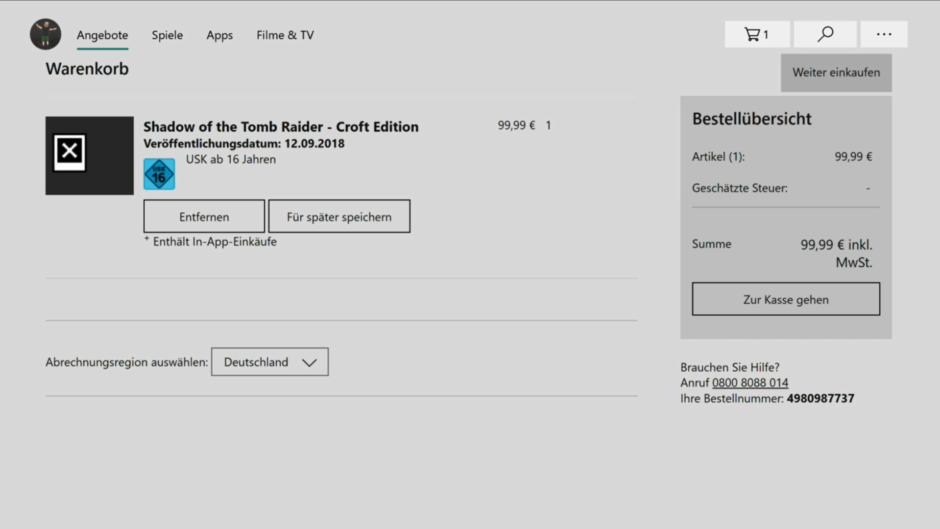 Xbox One Dashboard – Warenkorb im Store hinzugefügt