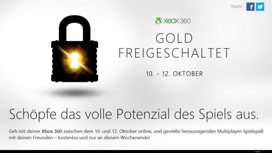 Xbox LIVE – Kostenloses Gold-Wochenende startet morgen
