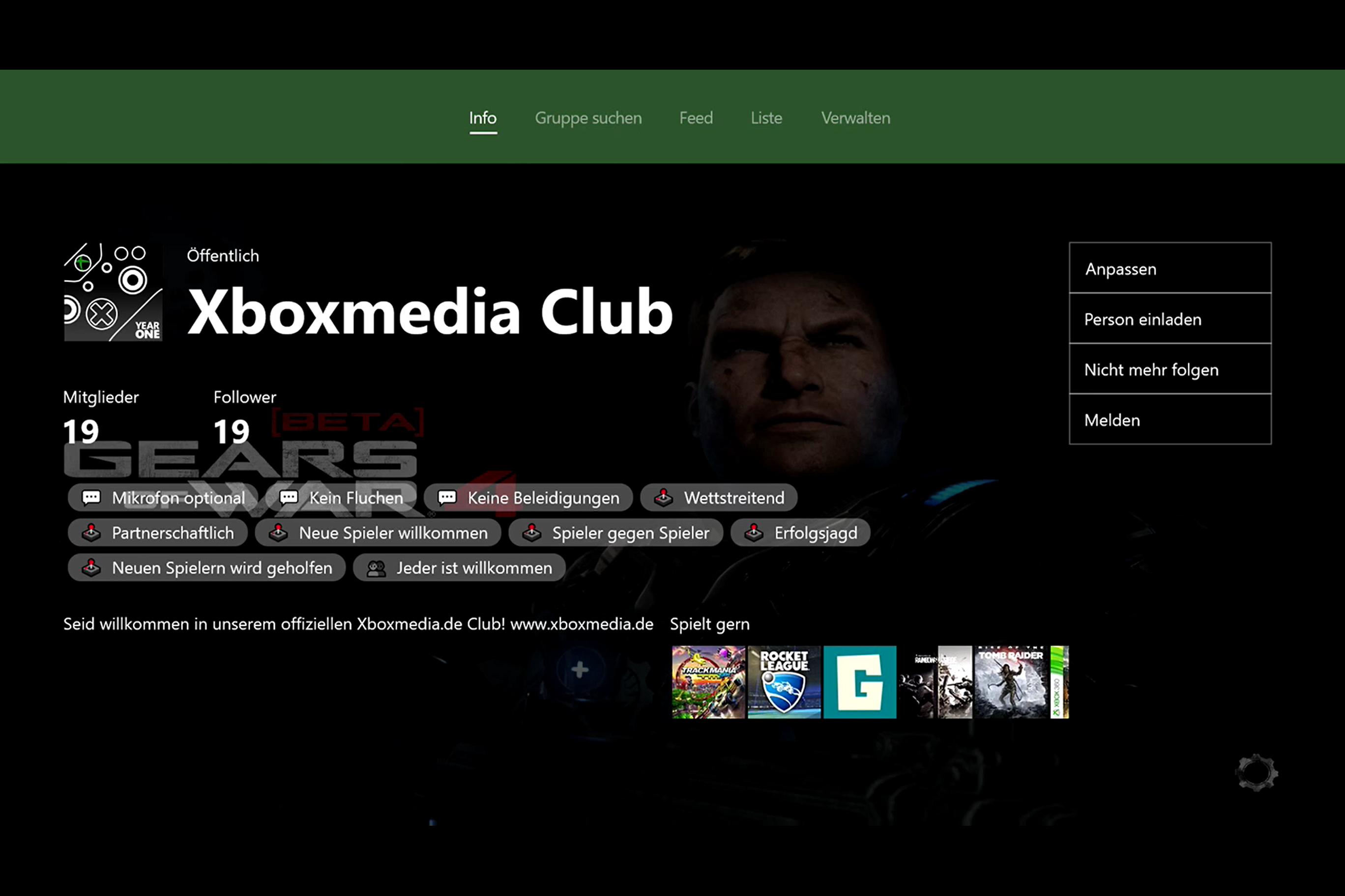Xbox One Dashboard - Clubs