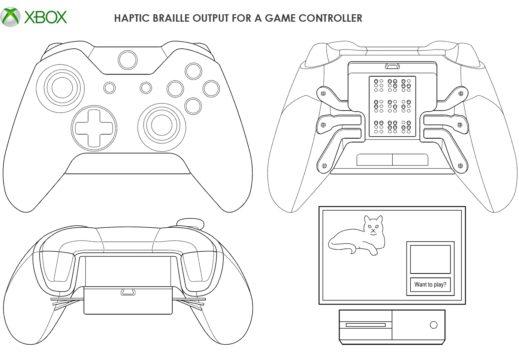 Microsoft patentiert neuen Xbox-Controller mit haptischer Blindenschrift-Ausgabe