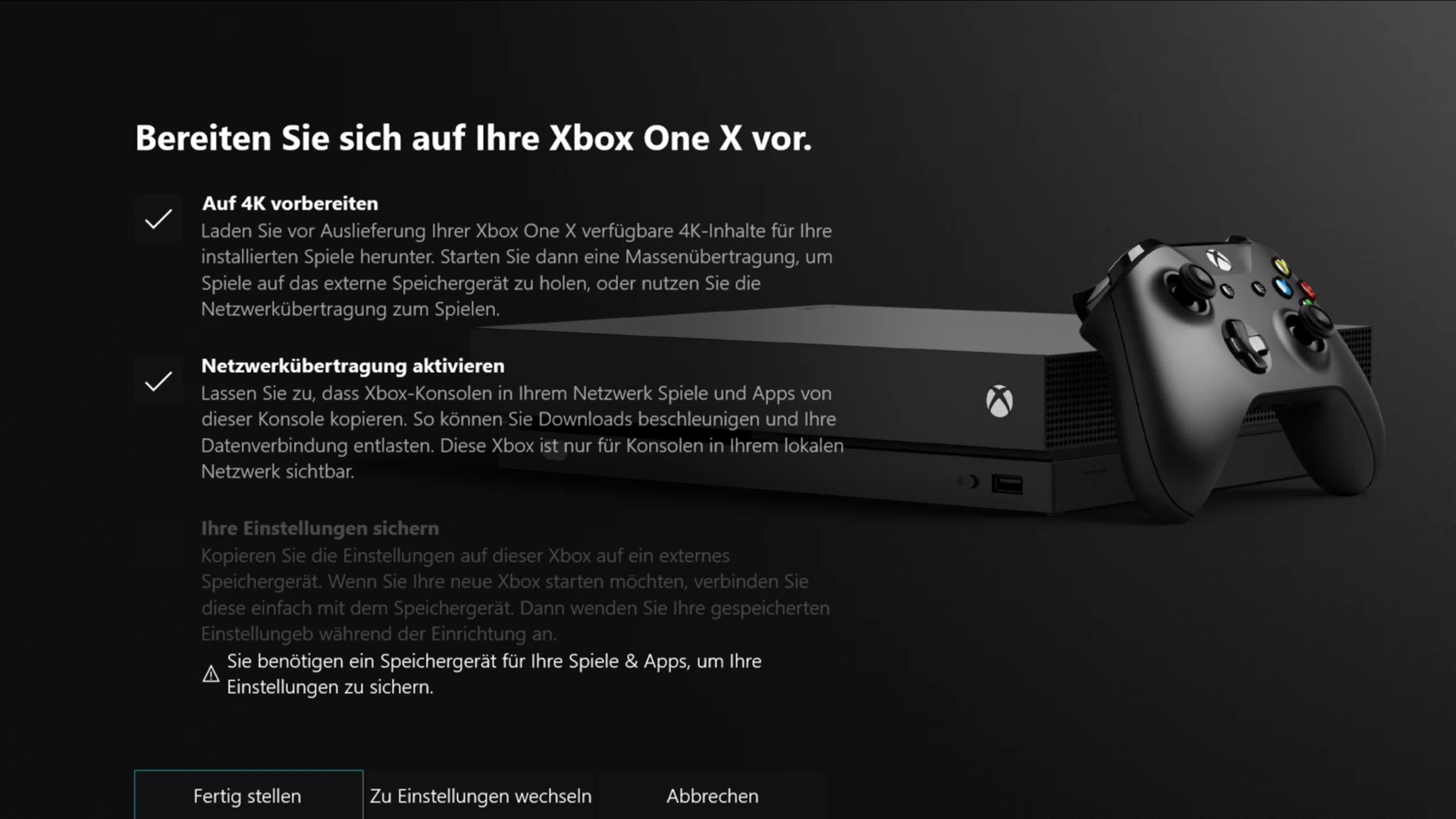 Xbox One X Datentransfer