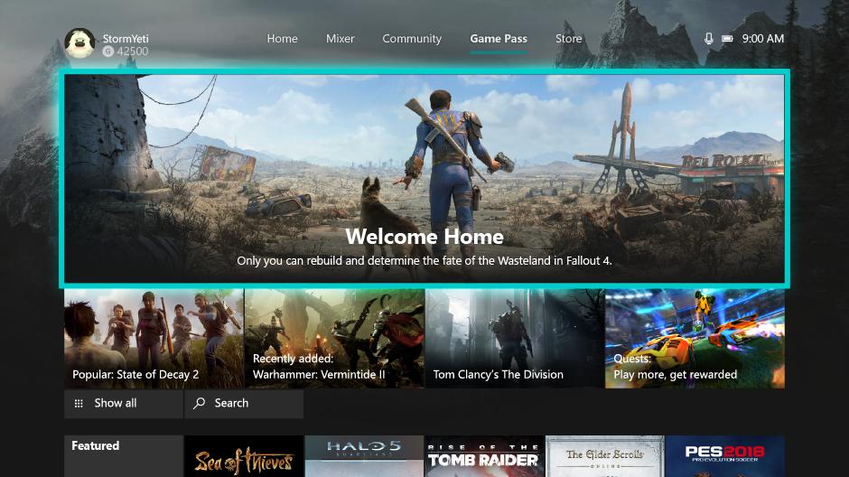 Xbox One Dashboard – Xbox Game Pass Tab nun dauerhaft im Dashboard erreichbar